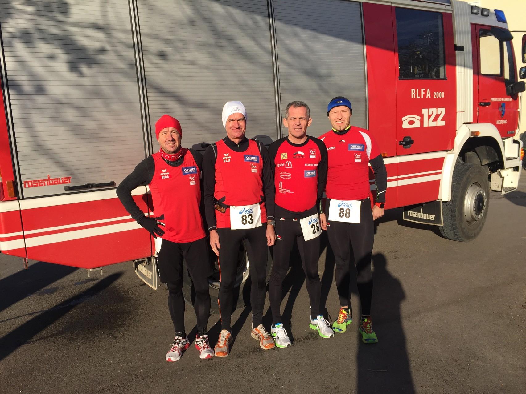 Die ersten vier mutigen Läufer sind eingetroffen