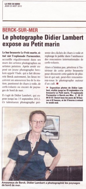 La Voix du Nord Montreuil pour mon expo photos