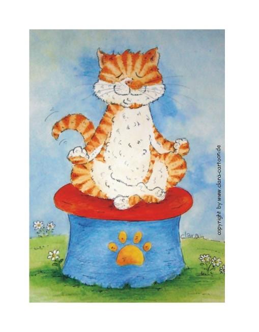Eine rot getigerte Katze sitzt entspannt auf einem Yogahocker.  Die Katze meditiert und ist glücklich und entspannt.