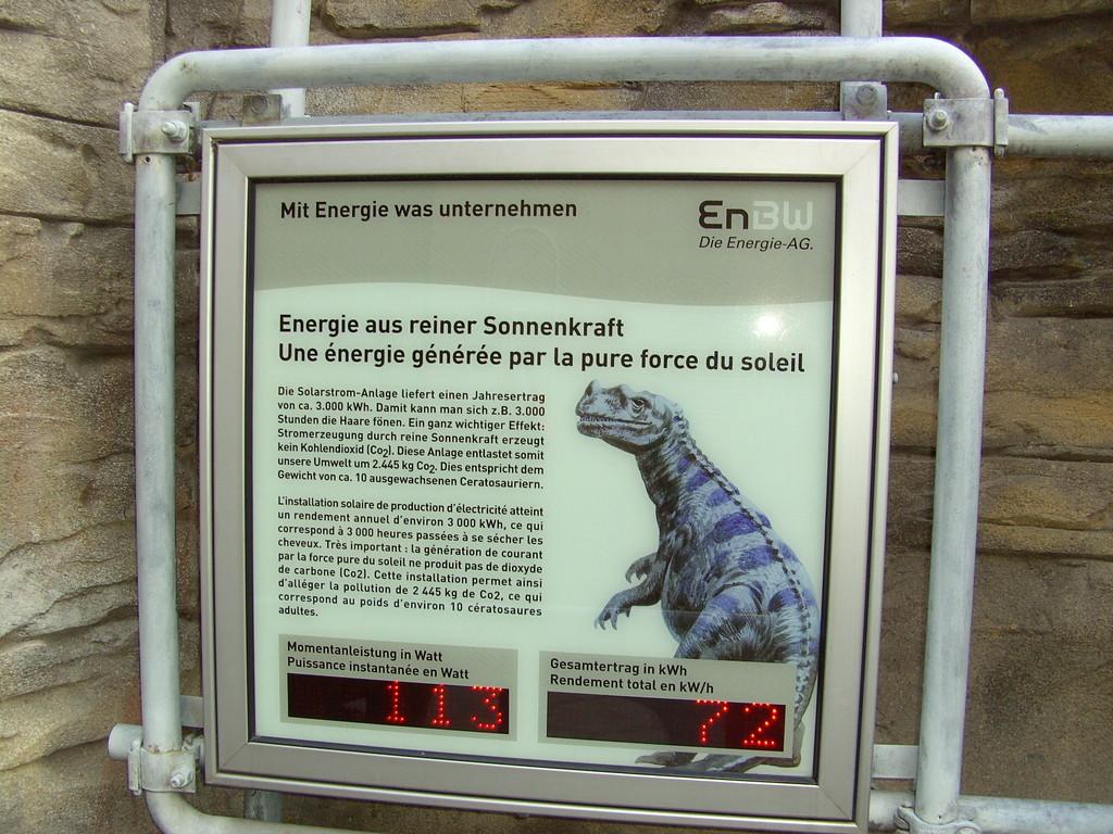 Anzeige einer kleine Pv Anlage im  Europa Park