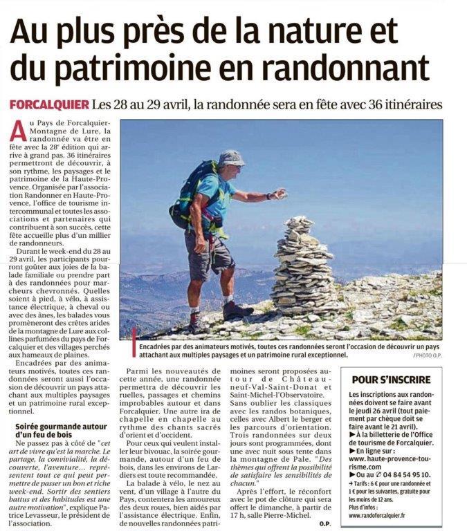 La Provence - 18 avril 2018 - Fête de la randonnée 2018