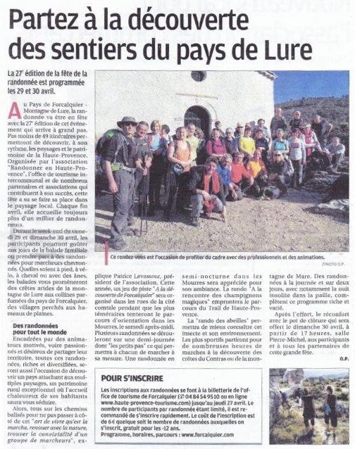 Mars 2017 - La Provence - Présentation de la Fête de la Randonnée 2017