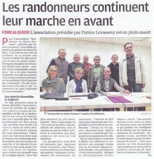 Novembre 2017 - La Provence - Assemblée générale 2017