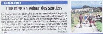 Novembre 2017 - La Provence - Mise en valeur des sentiers