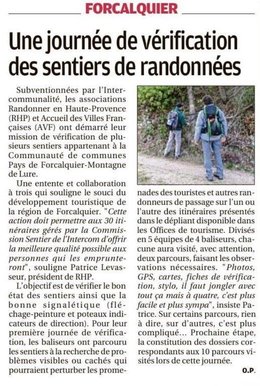 La Provence - 16 février 2018 - Vérification des sentiers de la Communauté de Communes