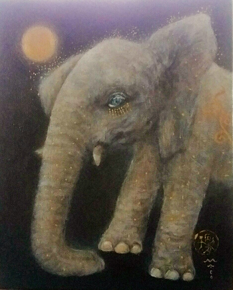 『月に祈る象』canvasF3