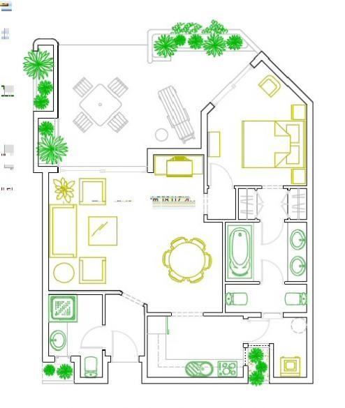 Auf dem Bild sehen Sie die Aufteilung von dem exclusiven Apartment Jasmin.