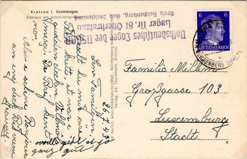 Postkarte aus dem Umsiedlungslager Nr. 81 Oberkratzau