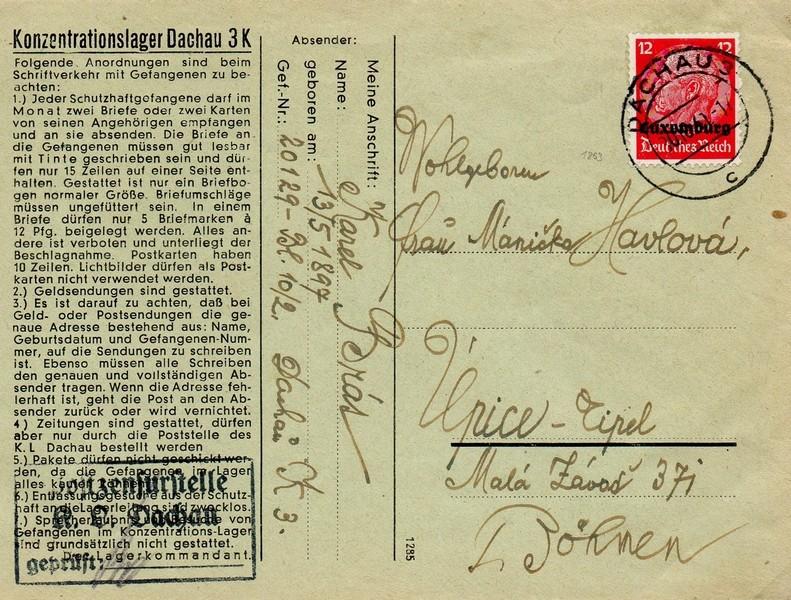 Brief aus dem KZ Dachau nach Upice-Tipel (Böhmen)