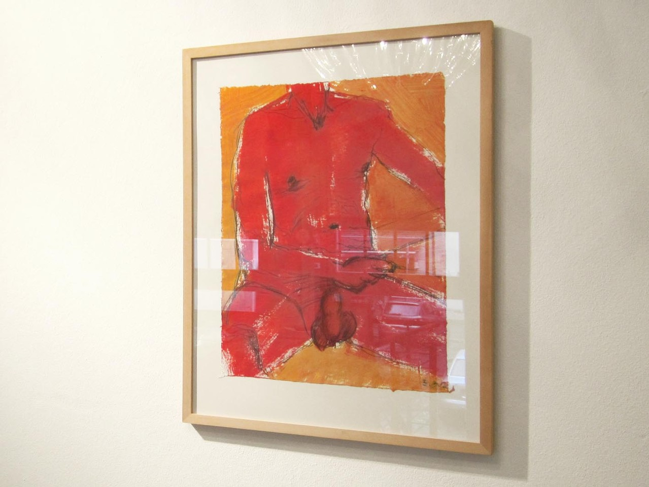 Männlicher Akt, Kreide/Acryl 2012