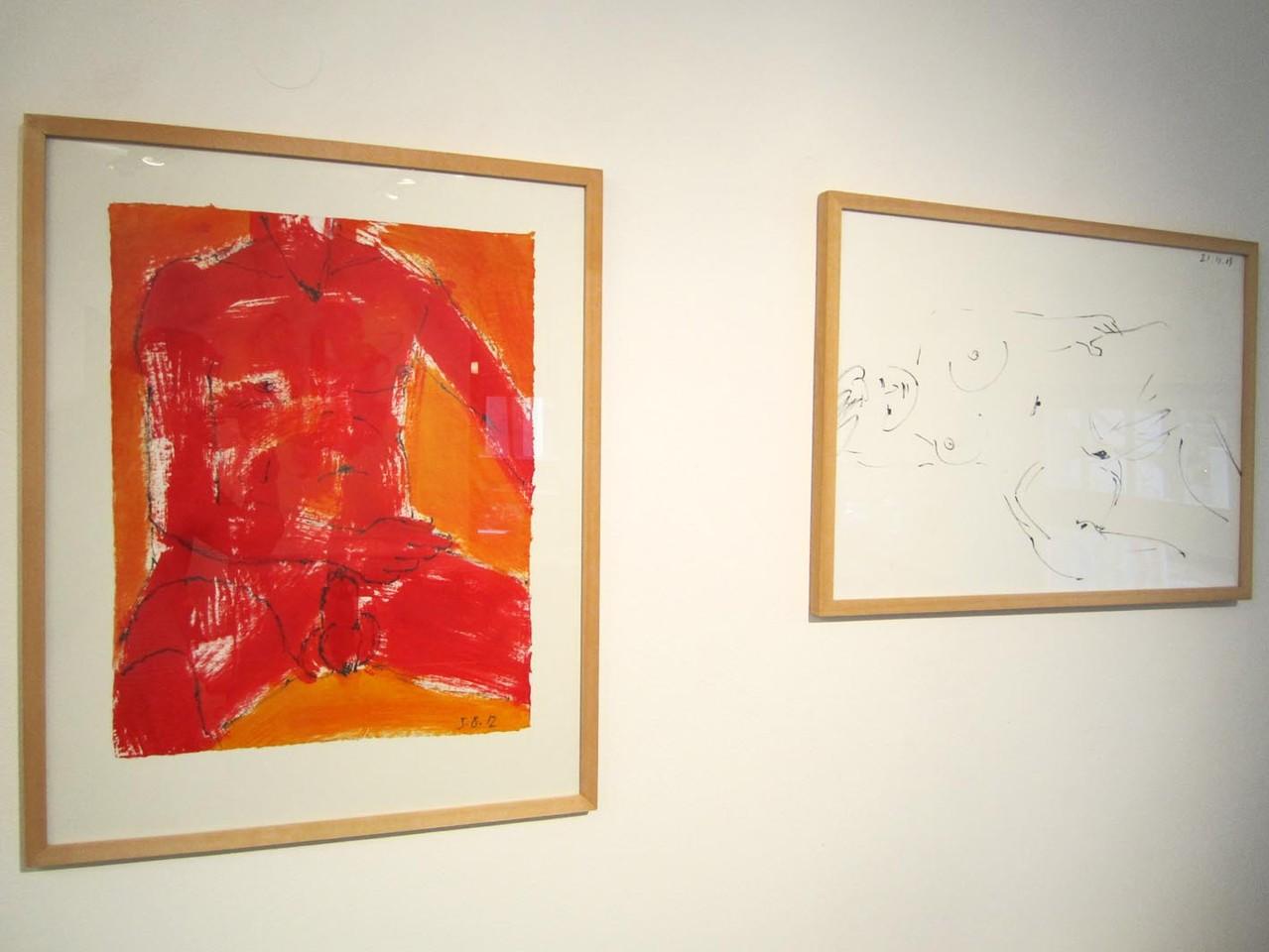 Männlicher Akt, Kreide/Acryl 2012 und Akt, Tusche 2009