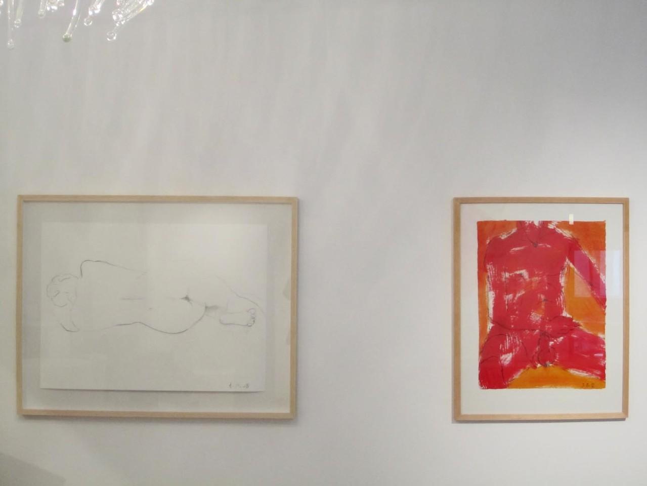 Rückennaht, Kreide 2008 und Männlicher Akt, Kreide/Acryl 2012