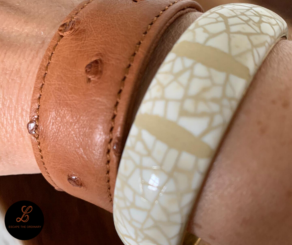 Armband eggshell en struisvogelleder