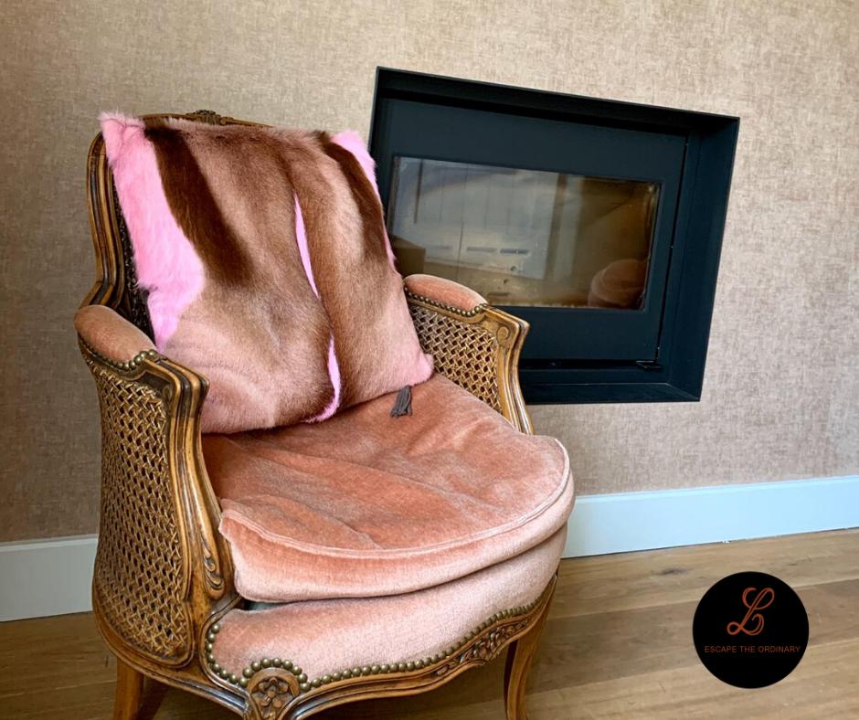 Roze kussenhoes in springbok (50x50) - 139€