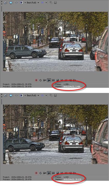 FIGURA 1. Gracias a la GPU de procesamiento, se reproduce el mismo clip a una velocidad mucho más alta en Vegas Pro 11 (imagen inferior) que en Vegas Pro 10 (imagen superior).