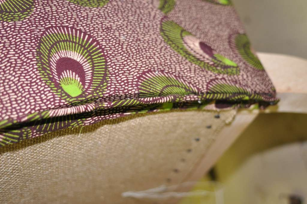 11ème étape : pose du tissu