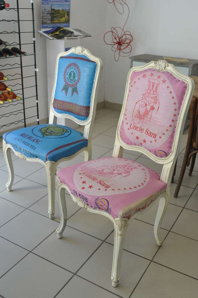 Chaises style Louis XV reloockées