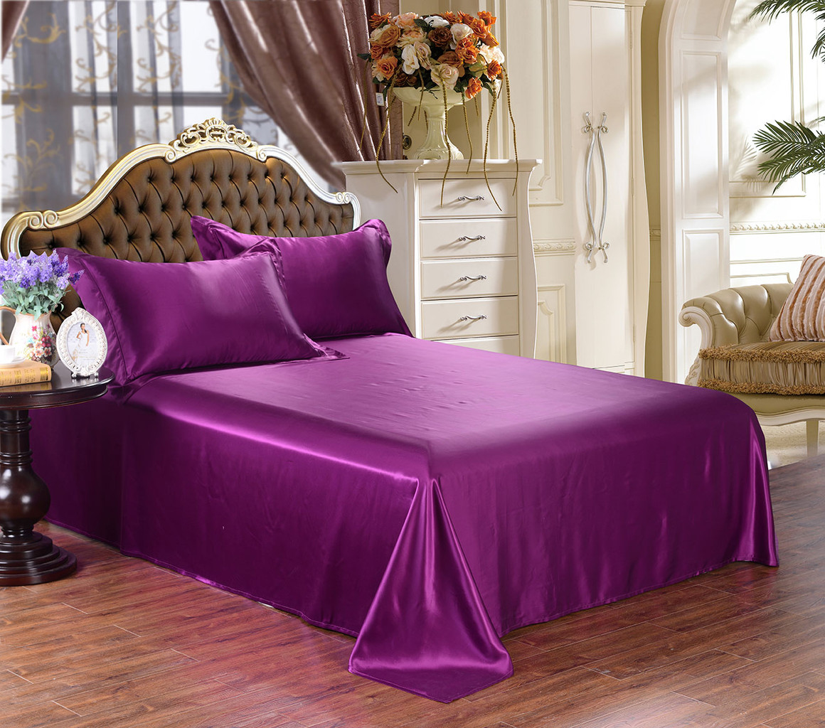 Royal Purple Silk Sheet And Sheet Set Silky Affection