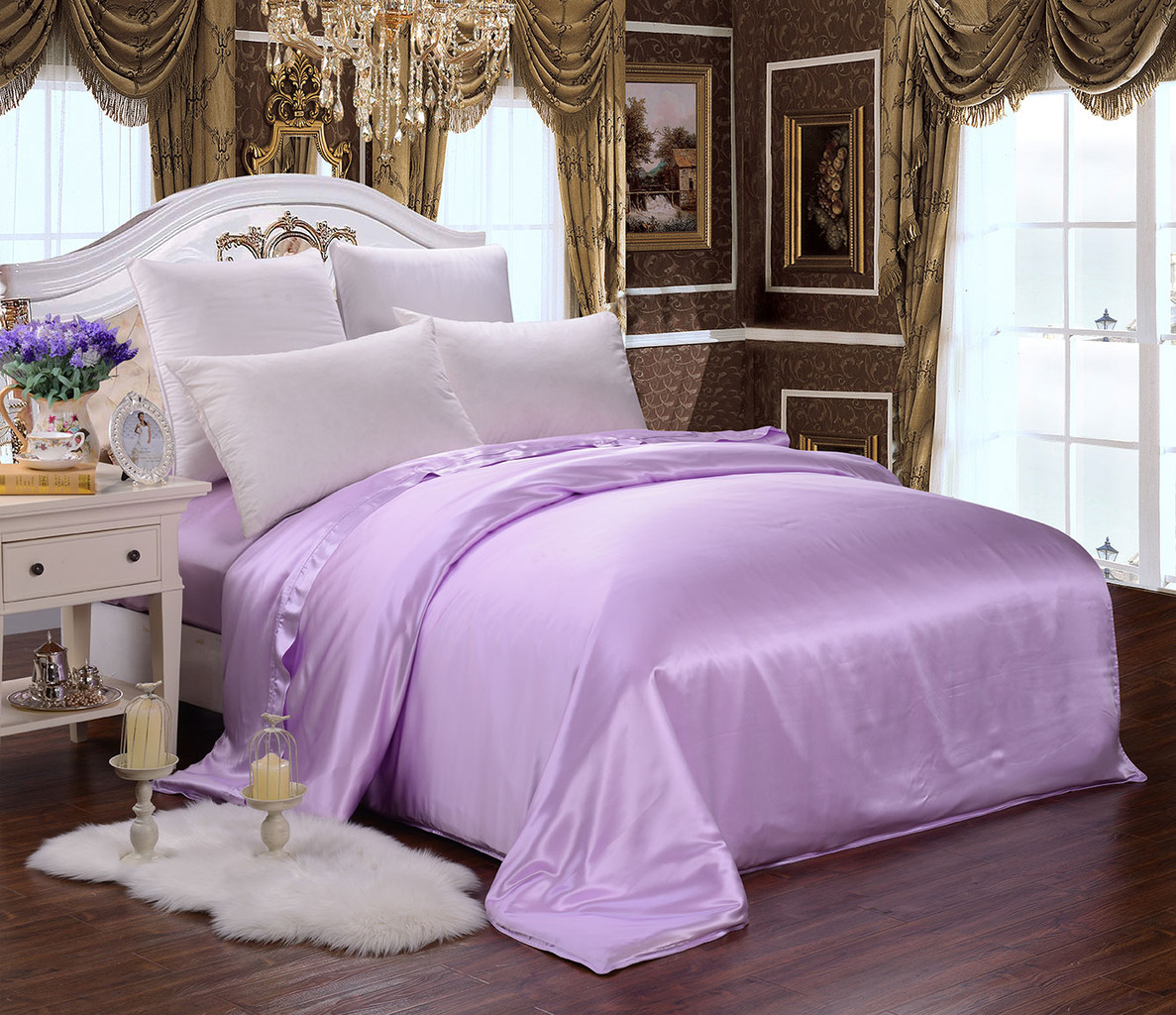 Lavender Silk Duvet Cover Set Silky Affection