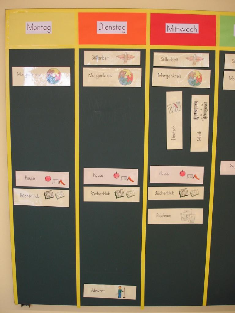 Wochenplan, Visualisierung für die Unterstufenkinder