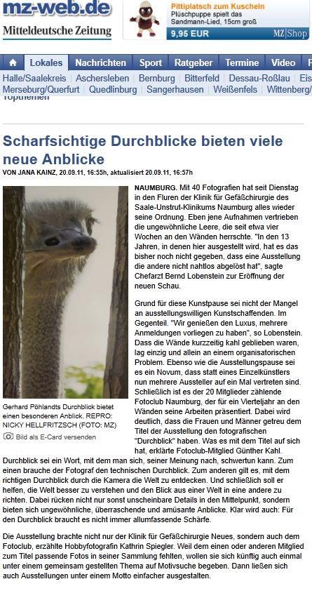 """""""Durchblick"""" in den Fluren des Saale-Unstrut-Klinikums - NMBTageblatt 09/2011"""