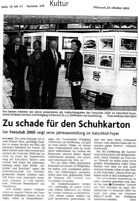 Ausstellung in der Partnerstadt Aachen, Katschhof-Foyer Aachener Zeitung 10/2005