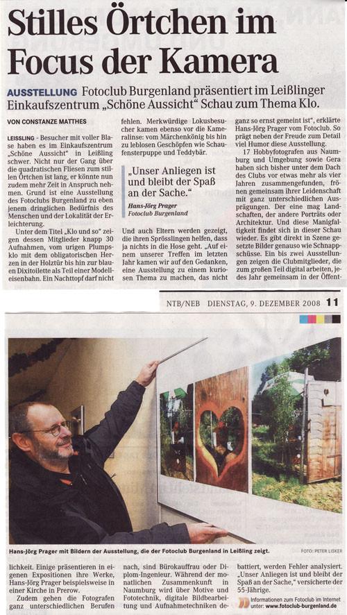 Ausstellung im Leißlinger Einkaufszentrum  - Mitteldeutsche Zeitung 12/2008