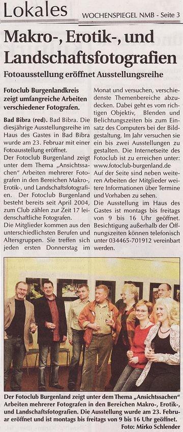 """Foto-Ausstellung im """"Haus des Gastes"""" in Bad-Bibra. Wochenspiegel 02/2008"""