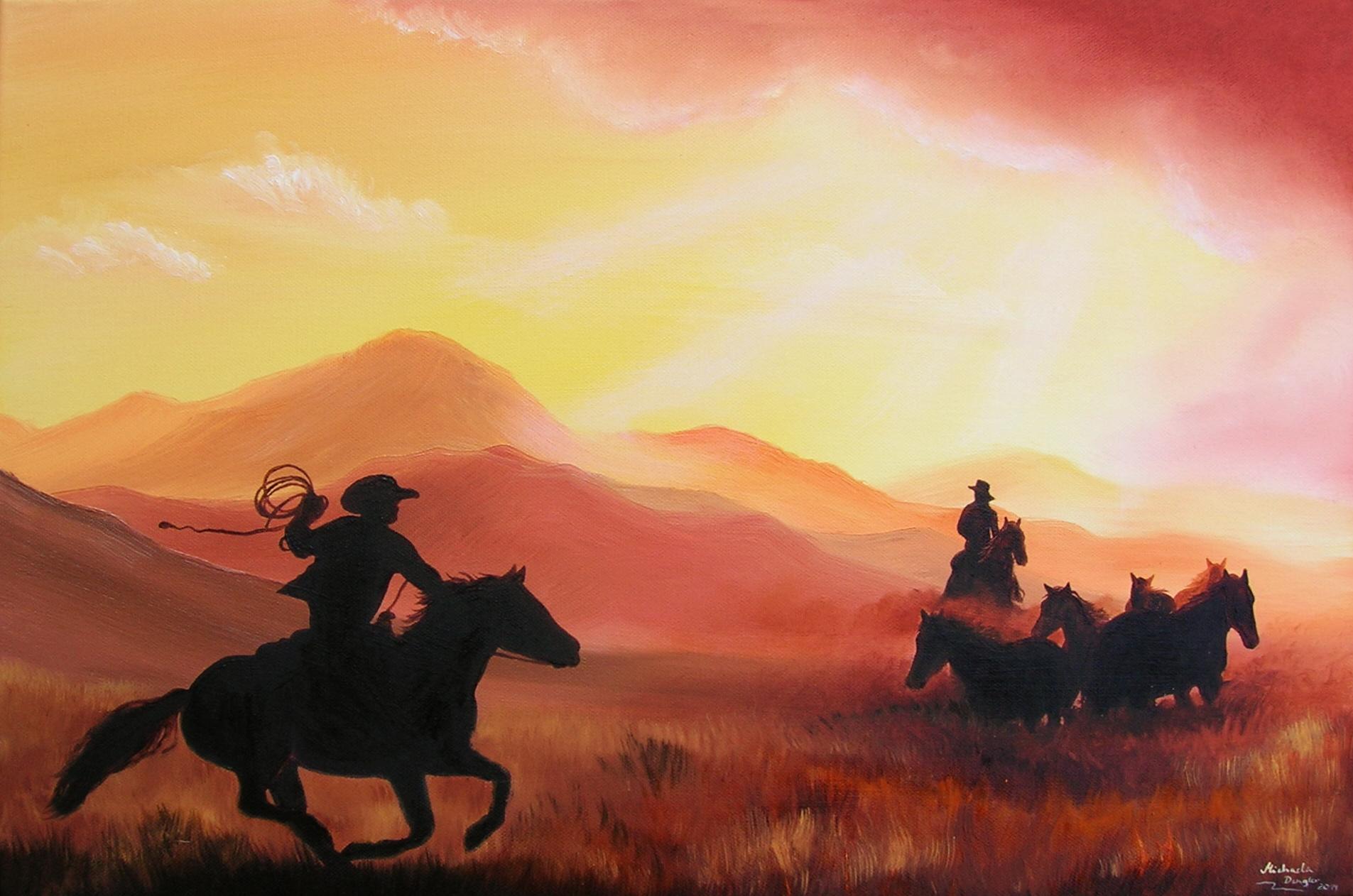 Cowboys im Abendlicht