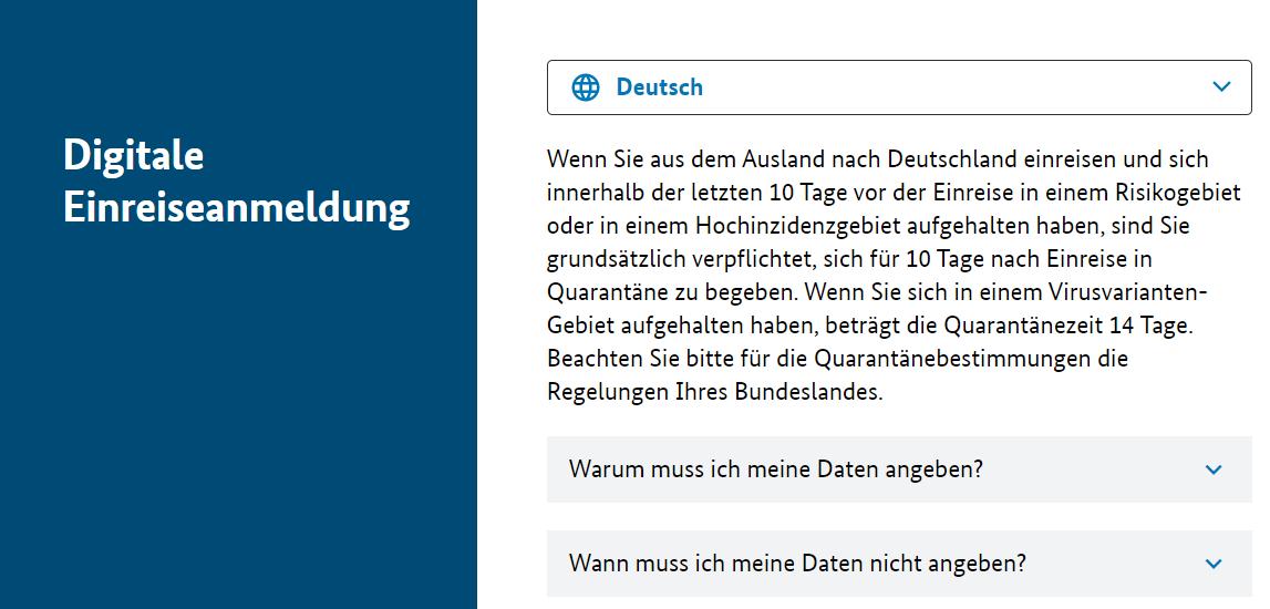 RKI - Digitale Einreiseanmeldung nach Deutschland