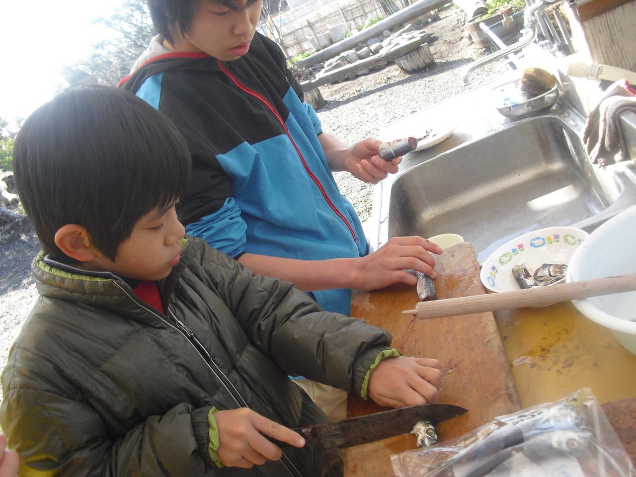 珍しく魚がふじっころに登場!子どもたちも魚の扱いはまだ慣れていないようです…。
