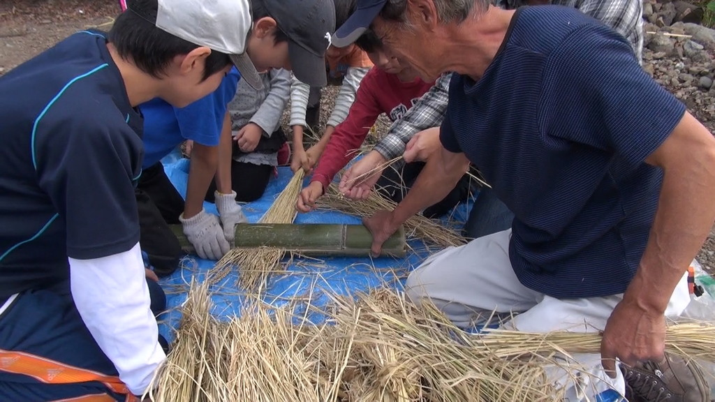 さて、こちらは先日かった稲です。竹に稲を挟んでしごき、お米だけにしていきます。「竹こぎ」といいます。