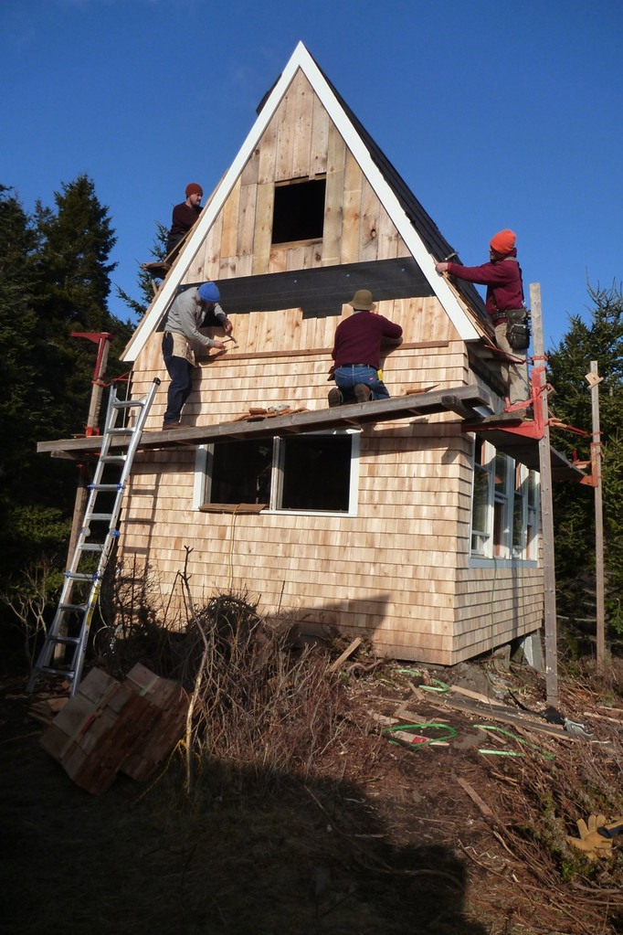 Shingling the roof and walls
