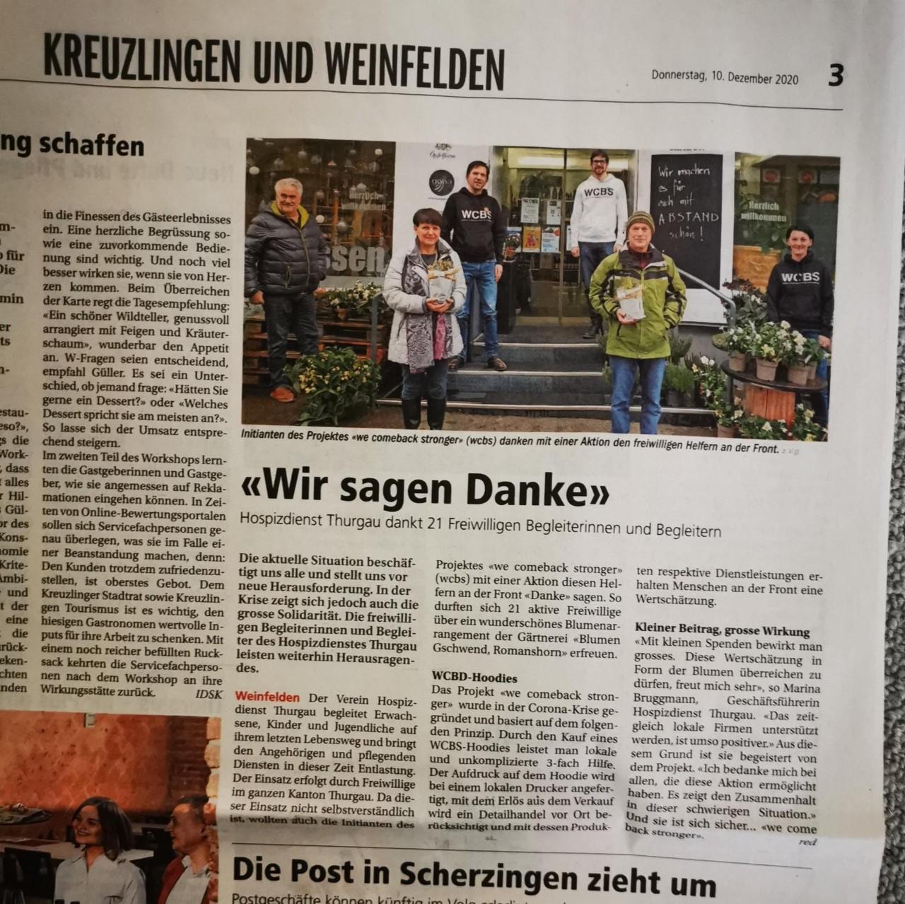 Erfolgreiche WCBS-Aktion - Blumenarrangements für freiwillige Begleiter*innen Hospizdienst Thurgau, 2020