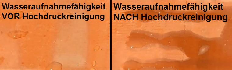 Wasseraufnahme des Dachziegels VOR und NACH Hochdruckreinigung