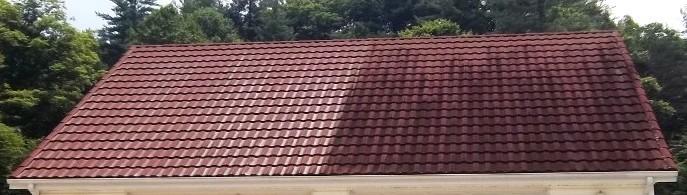 Doppelhaushälfte - die Besitzer links achteten auf ihr Dach und ließen es reinigen