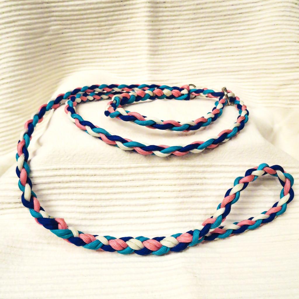 Retrieverleine, 4-fach geflochten: white, rosa pink, electric blue & neon turquoise