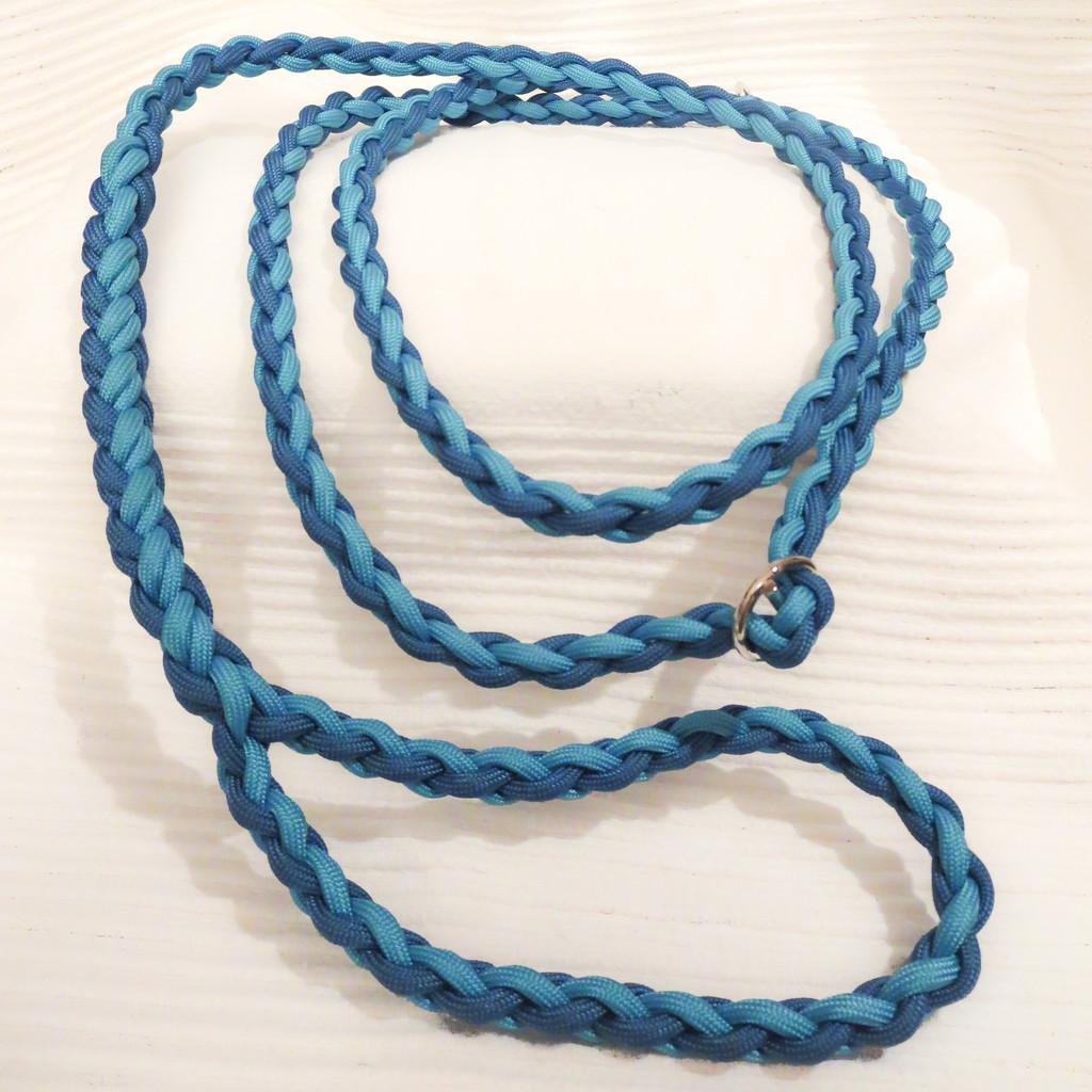 Retrieverleine, 4-fach längs geflochten: caribbean blue & neon turquoise