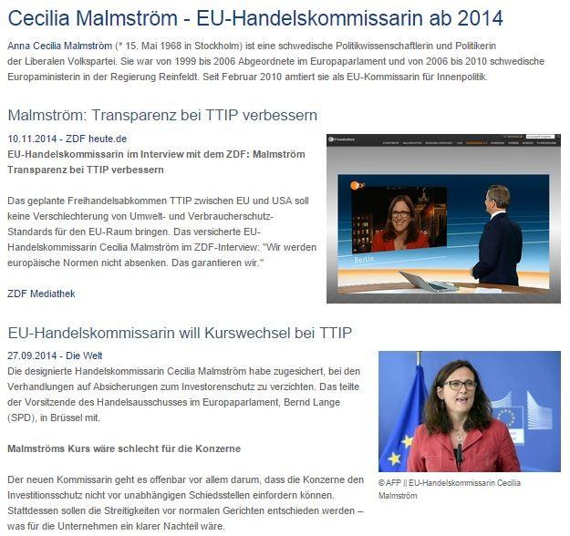 Siehe auch Prominente Stimmen - Cecilia Malmström - Kurswechsel und mehr Transparenz