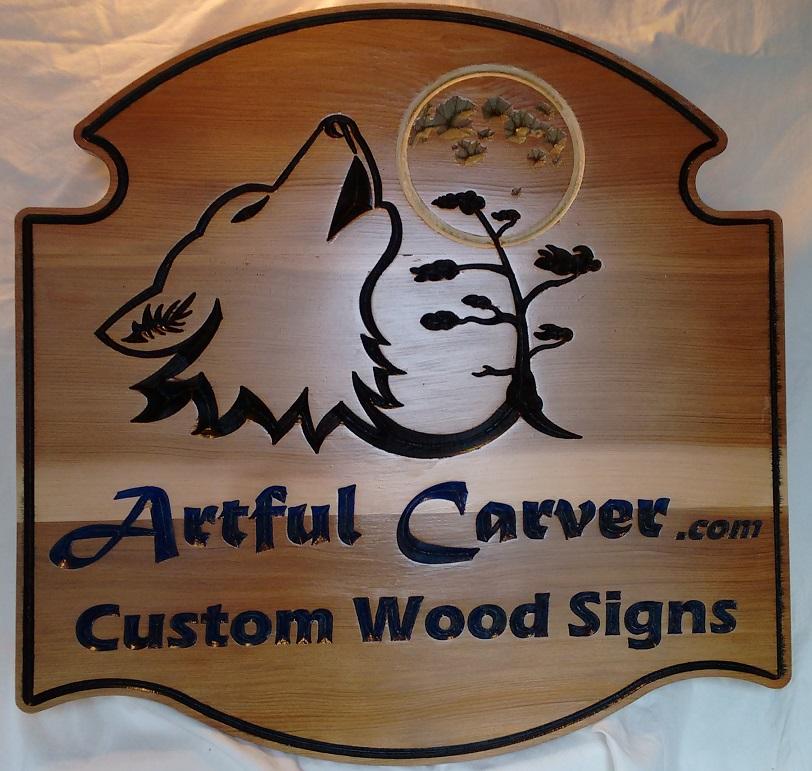 "4 Square Foot Sign 20"" x 23"" in Select Cedar by ArtfulCarver.com"
