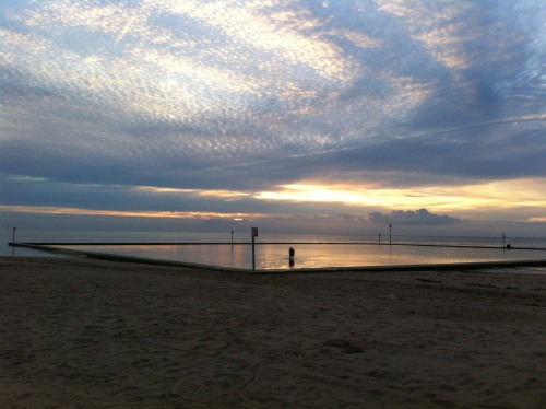 margate sunset over the wading pool shared by Broadstairs Apartments holiday lets Thanet East Kent spectacular sky