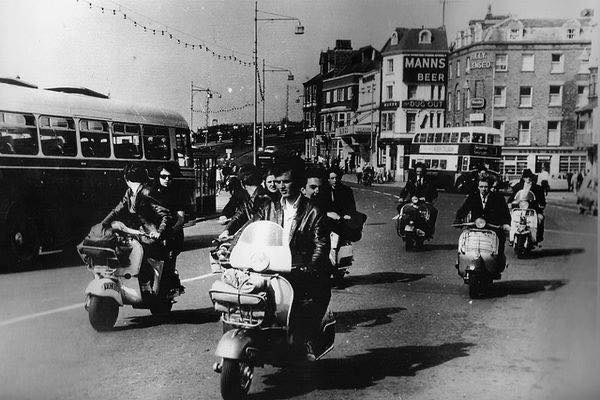 Mods arrive in style to Margate. Image courtesty of Rat Race