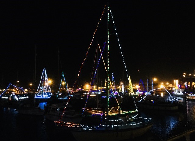 Ramsgate Harbour boats lit up for Christmas. Ramsgate Lights 2018