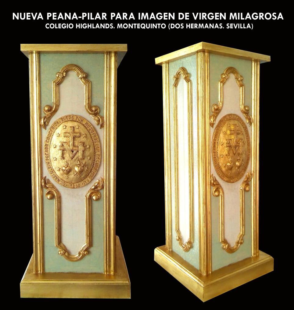 Peana-pilar para Imagen de Virgen Milagrosa