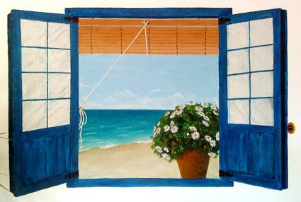 Pintura mural de ventana
