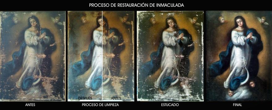 Proceso de restauración Inmaculada murillesca S.XVIII
