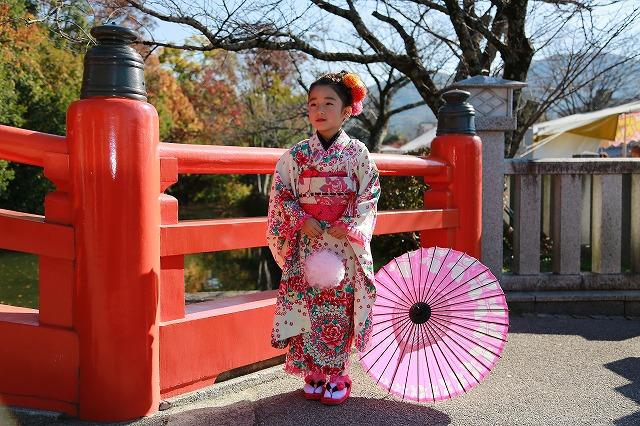 武田神社神橋にて七歳女の子のソロショット七五三写真