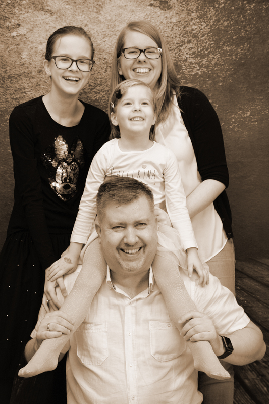 Familienfoto in Sepiaton