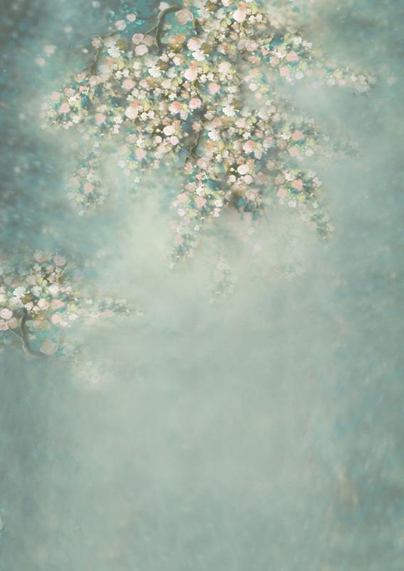 Newbornfotoshooting / Familienfotoshooting Hintergrund Pastellfarbe mit Blumen und Zweigen