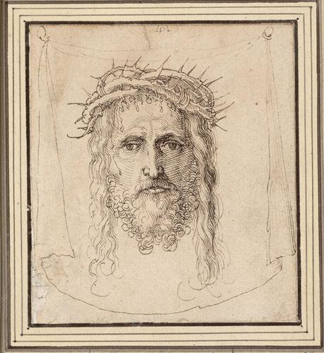 (9) Albrecht Dürer (attribuzione), Il velo della Veronica, attorno al 1513/1515 (?), disegno a penna, 11,8 x 10,6 cm, n. invent. 3132, Albertina / Vienna